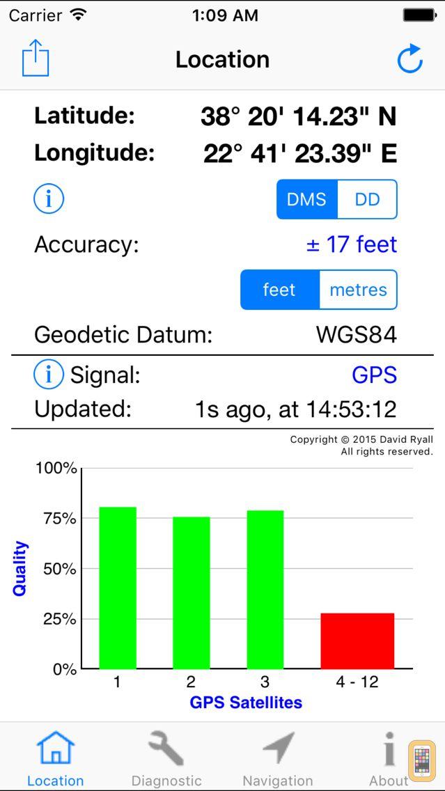 Screenshot - GPS Diagnostic: Satellite Test