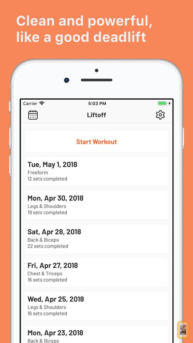 Screenshot - Liftoff - Workout Log