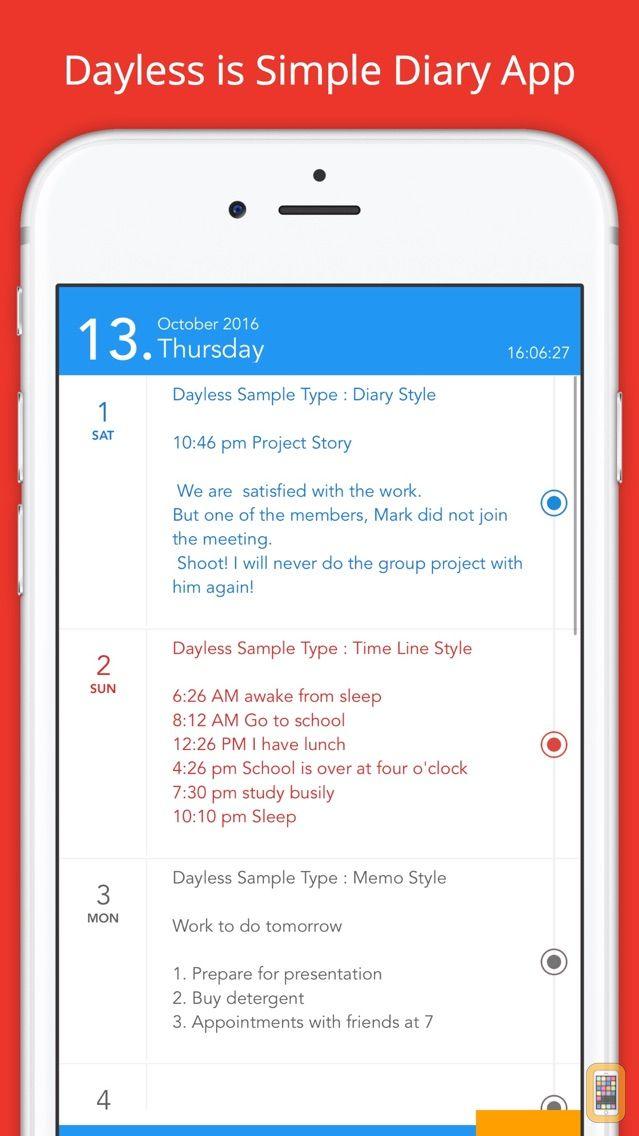 Screenshot - Dayless - Simple Diary App