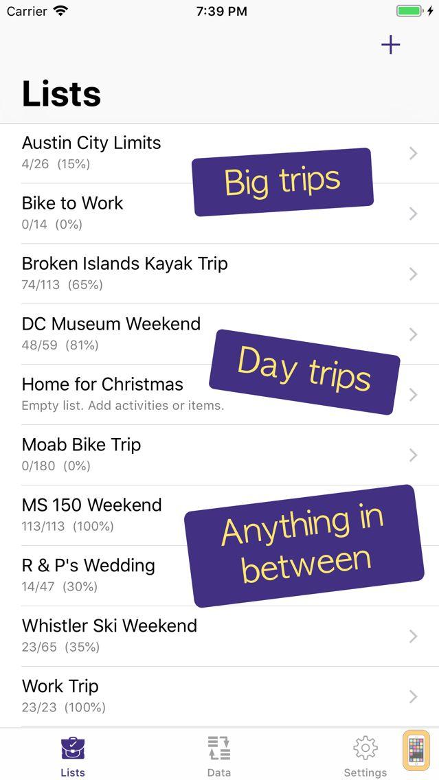 Screenshot - PackCheck Packing List