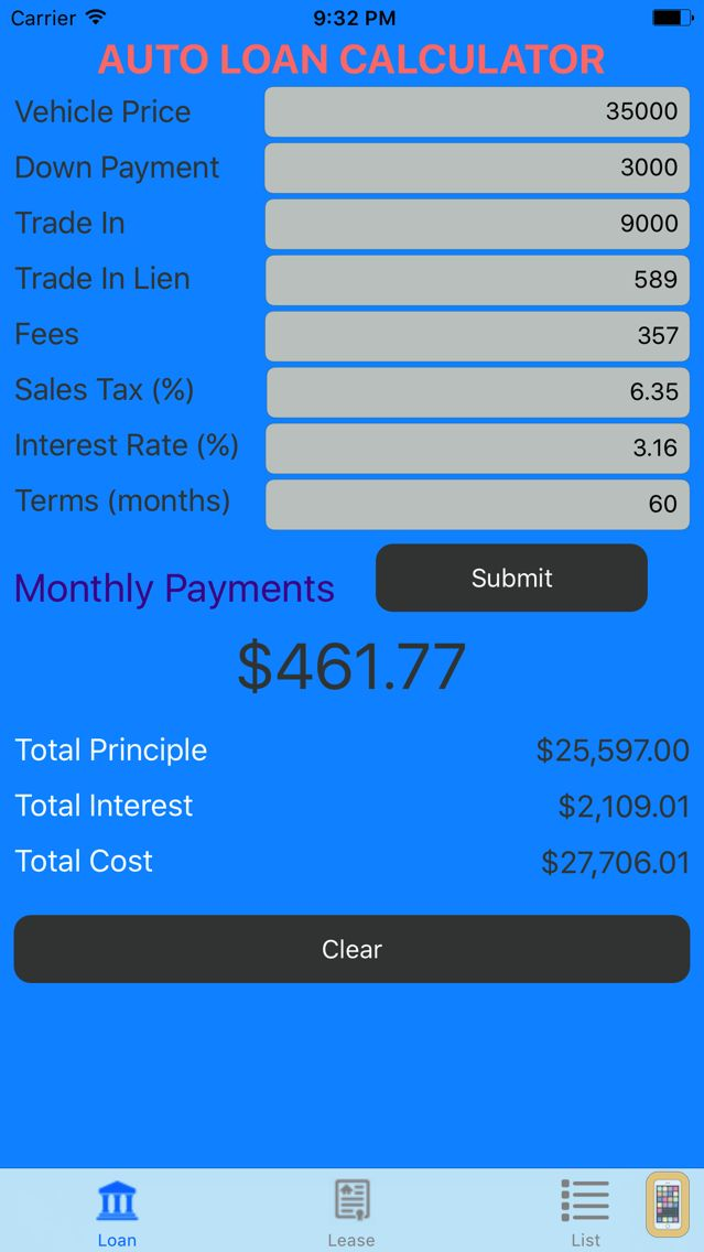 Car Loan Calculator  Auto Loan  Lease Calculator For Iphone