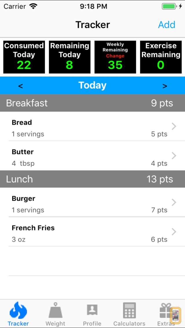 Screenshot - Smart Food & Weight Calculator