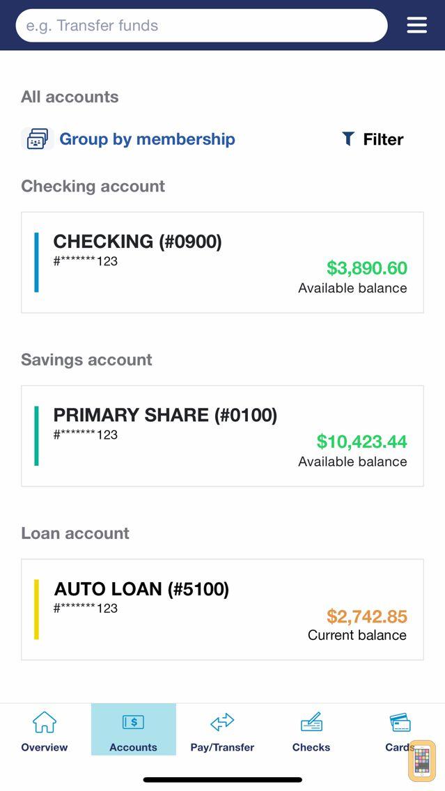 Screenshot - Spectrum Credit Union Mobile
