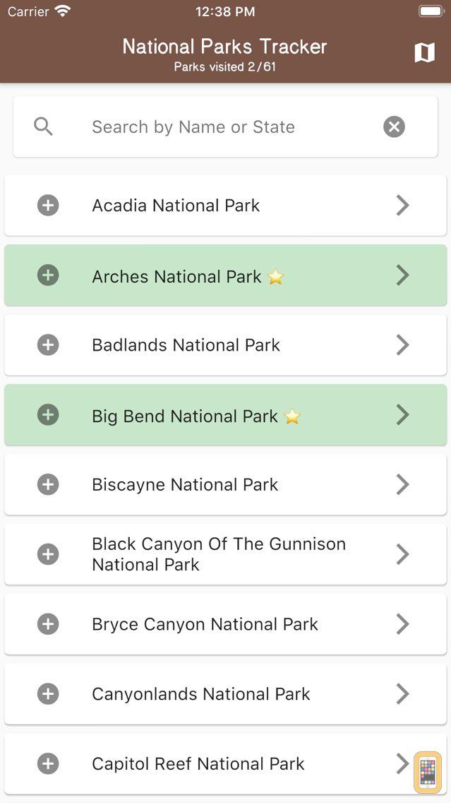 Screenshot - National Parks Tracker