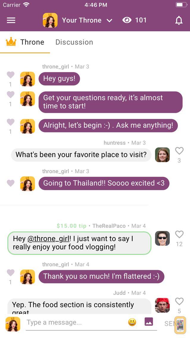 Screenshot - Throne — live crowd chat