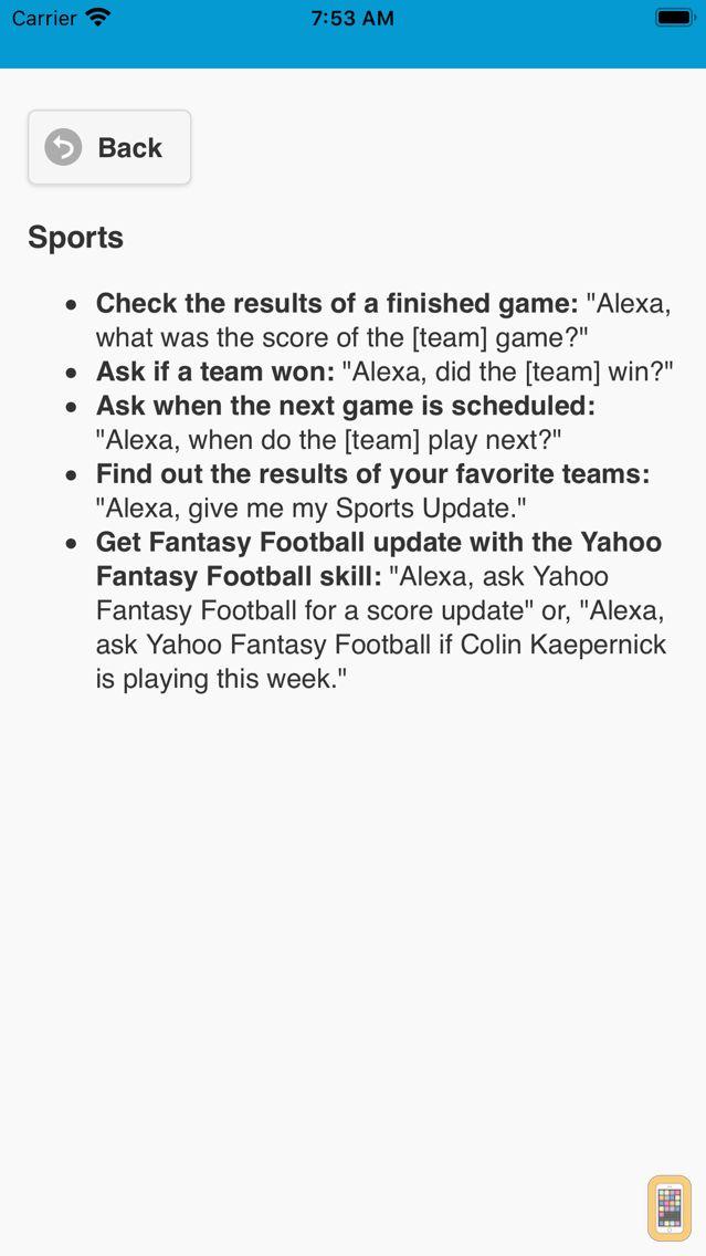 Screenshot - Voice commands for Alexa
