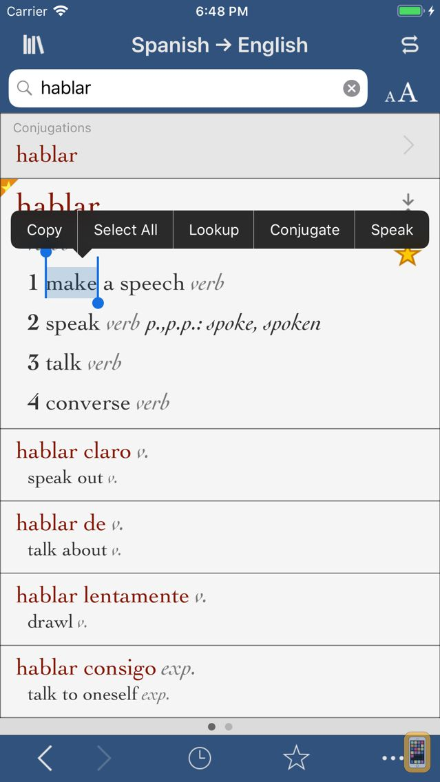 Screenshot - Ultralingua Spanish-English