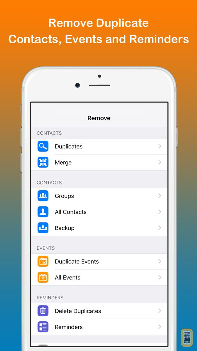 Screenshot - Remove Duplicate Contacts, Events and Reminders - Contact Manager