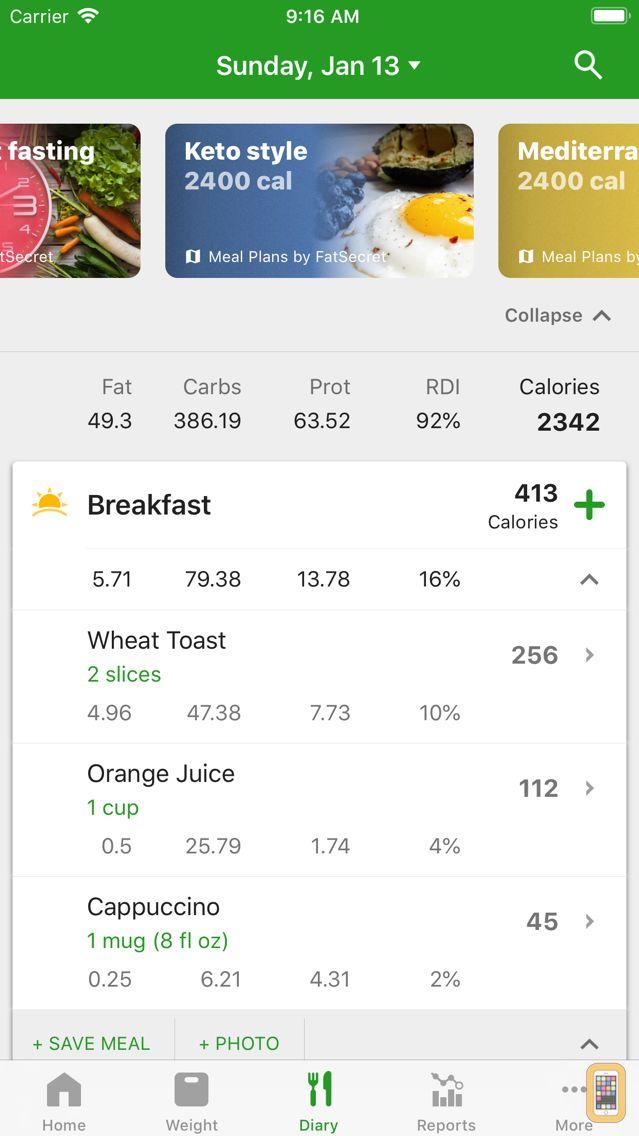 Screenshot - Calorie Counter by FatSecret