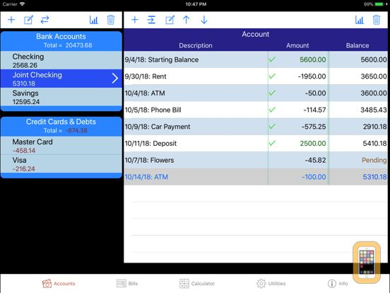 Screenshot - iCheckBalance for iPad: Checkbook & Bills Tracker