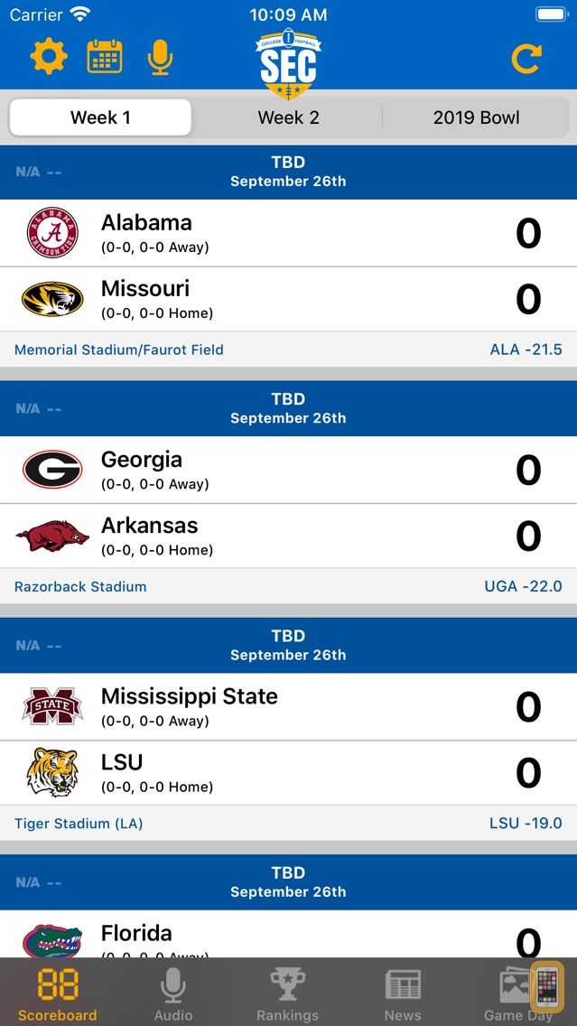 Screenshot - SEC Football Scores