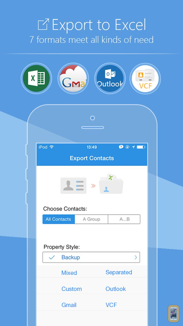Screenshot - SA Contacts - Export/Import contacts to/from Excel