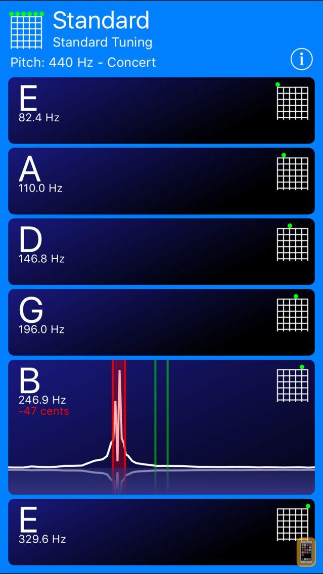 guitar tuner for iphone ipad app info stats iosnoops. Black Bedroom Furniture Sets. Home Design Ideas