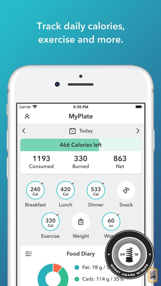 Screenshot - MyPlate Calorie Counter