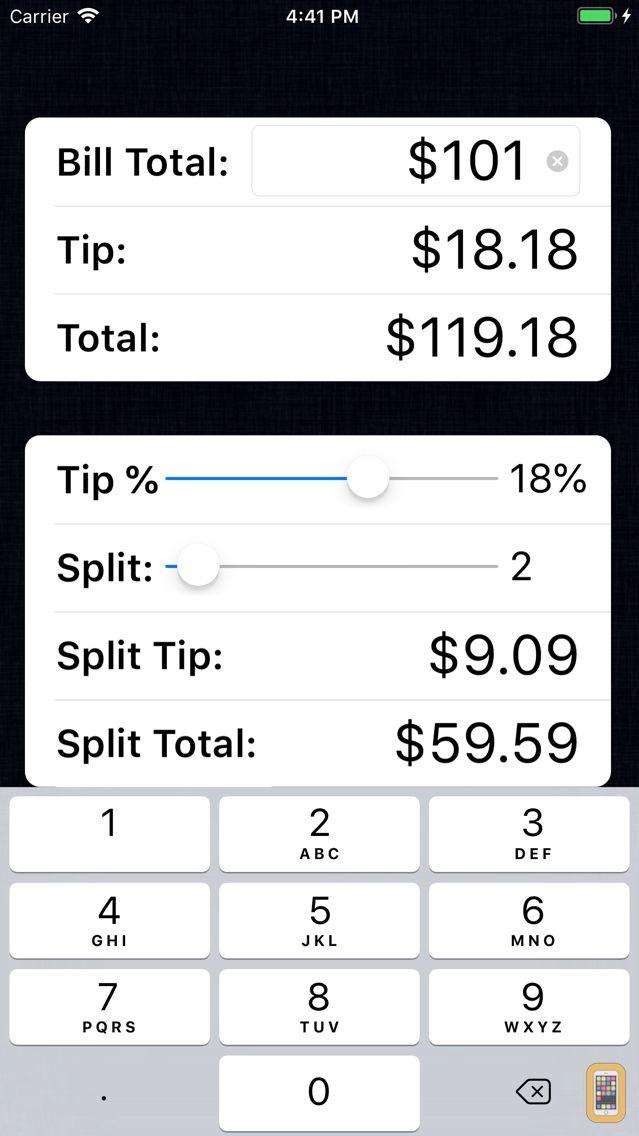 Screenshot - Tip Calculator % Pro