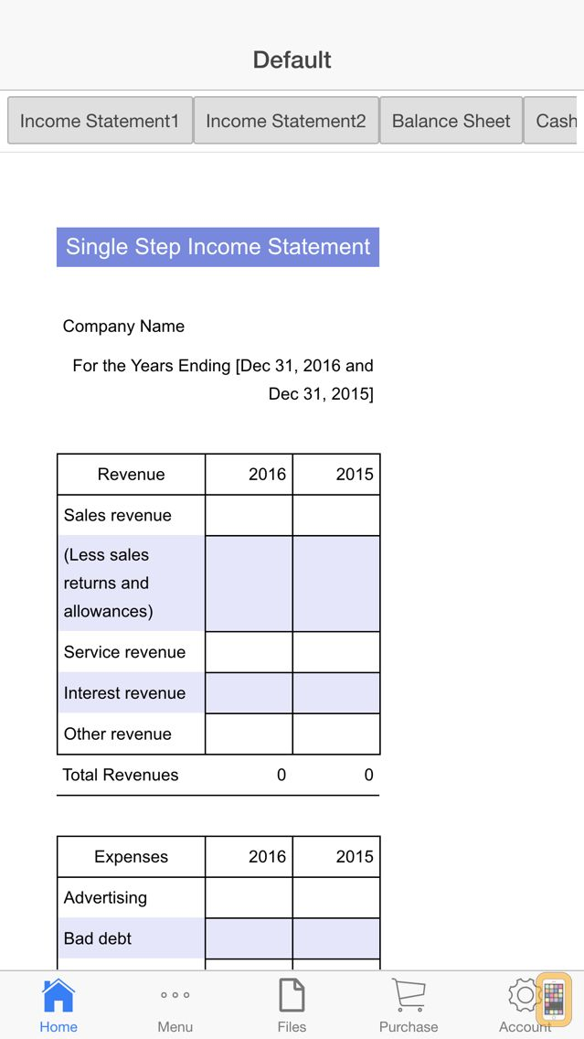 Screenshot - Financial Statements