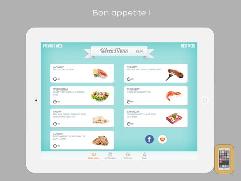 Screenshot - Week Menu - Plan your cooking with your personal recipe book