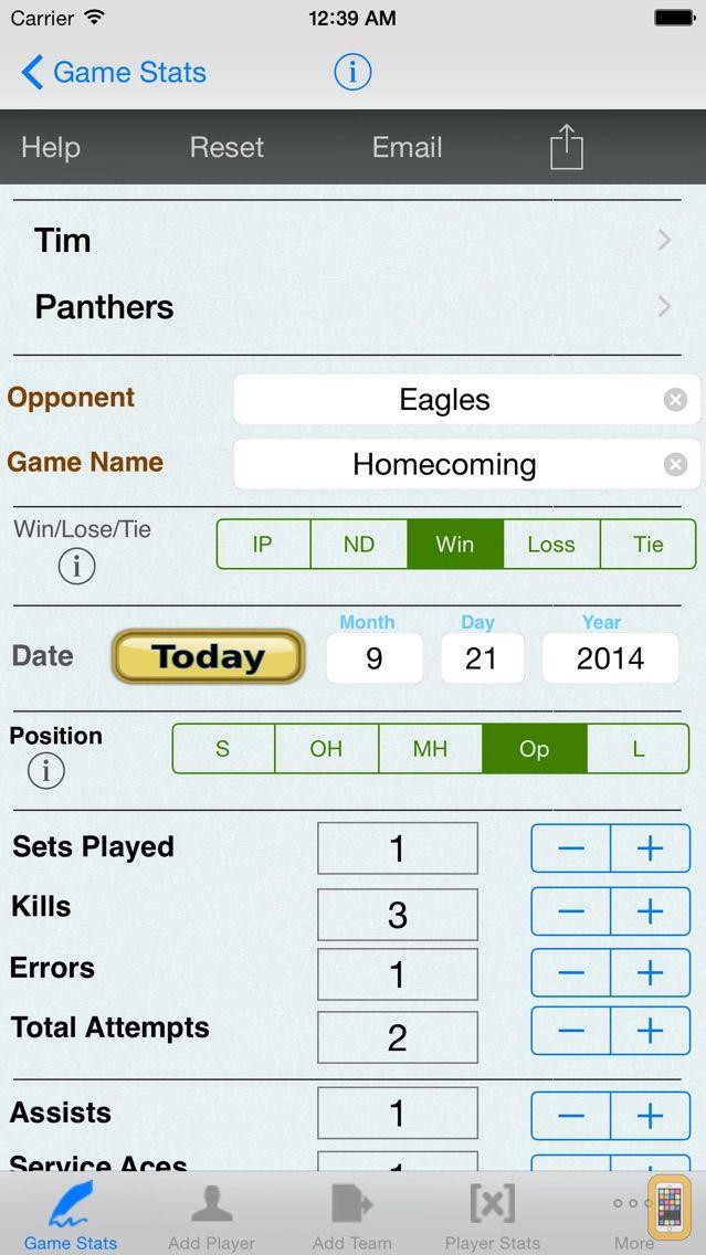 Screenshot - Volleyball Player Game Stats