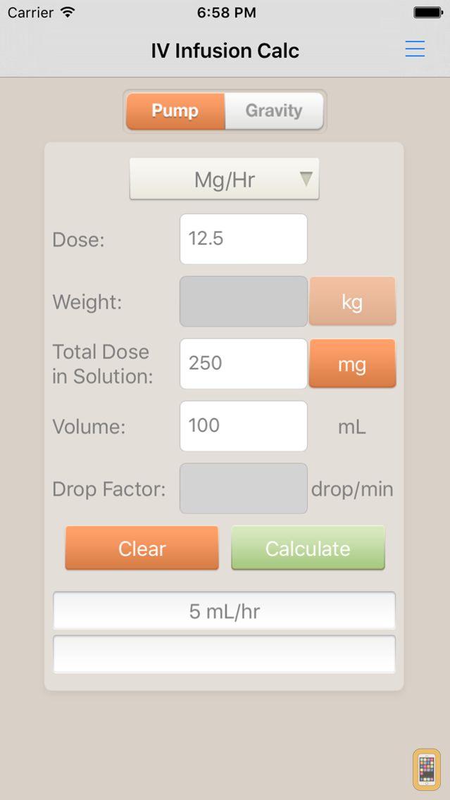 Screenshot - IV Infusion Calculator