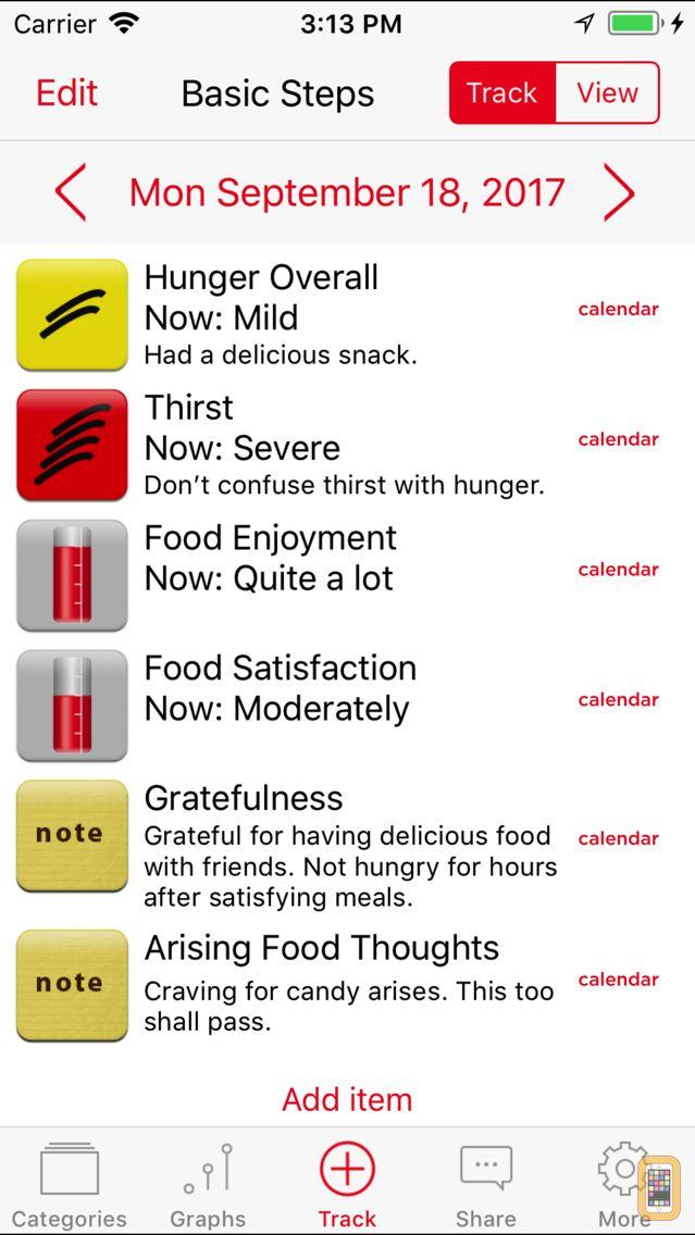 Screenshot - Mindful Eating Tracker