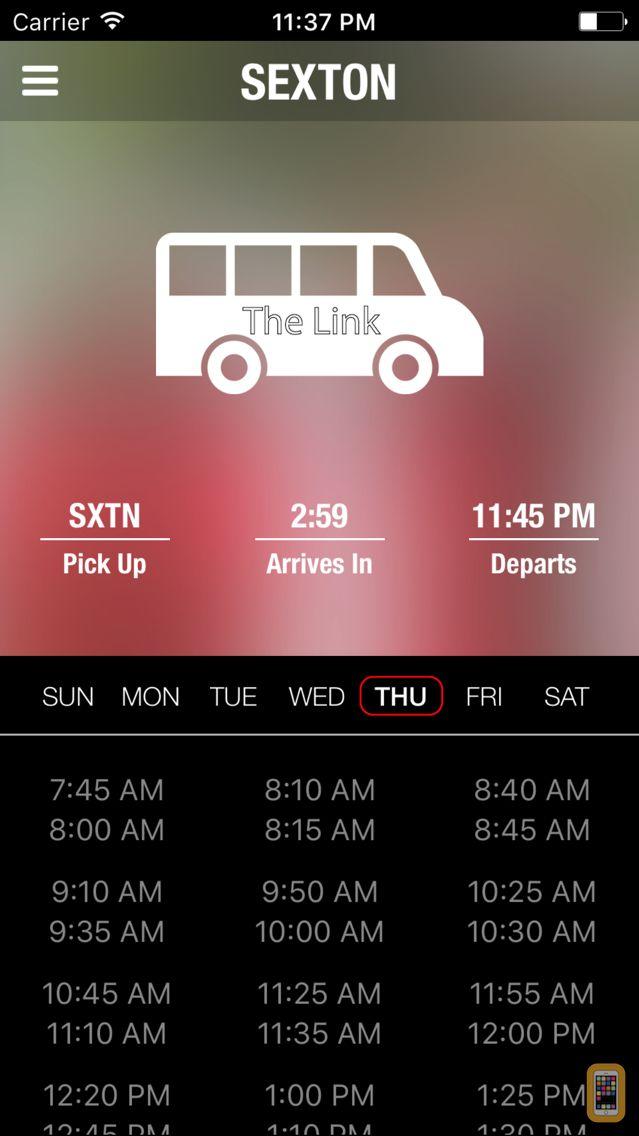 Screenshot - The Link, Bus Schedule