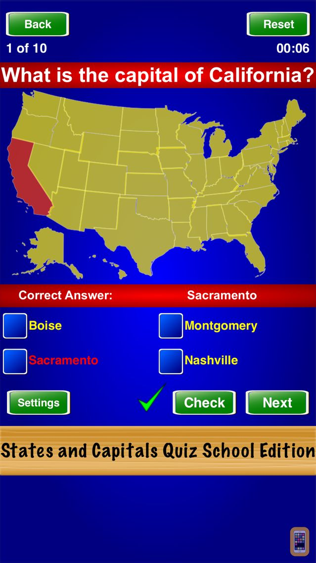 Screenshot - States and Capitals Quiz School Edition