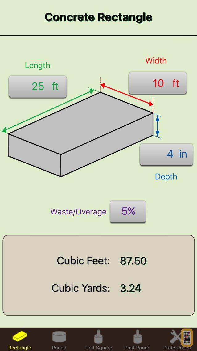 Screenshot - Concrete Calculator Elite