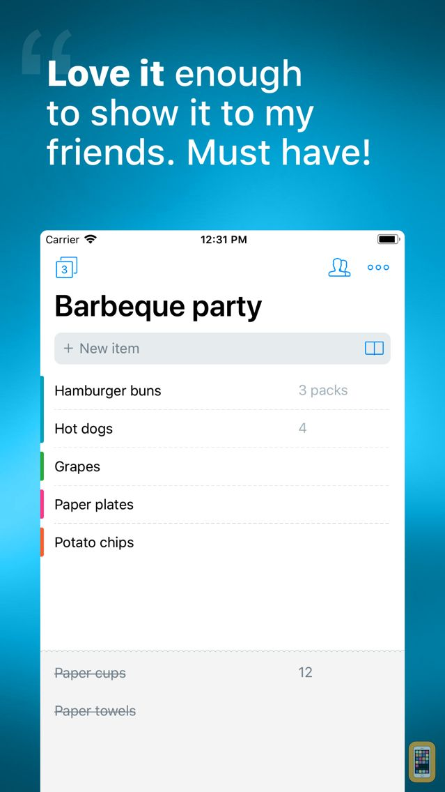 Screenshot - Buy Me a Pie! - Shopping List