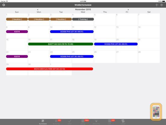 Screenshot - WinBid Schedule