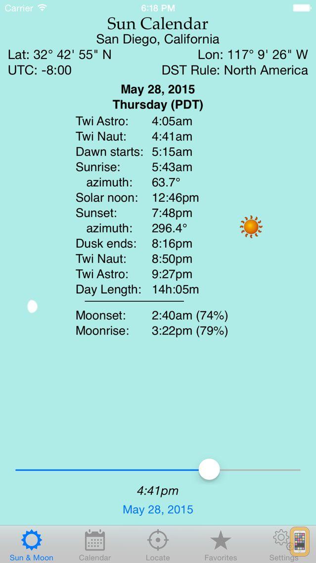 Screenshot - Sun Calendar