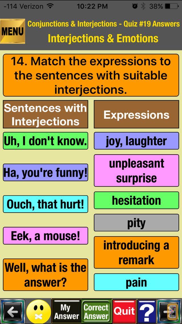 Screenshot - easyLearn Conjunctions & Interjections