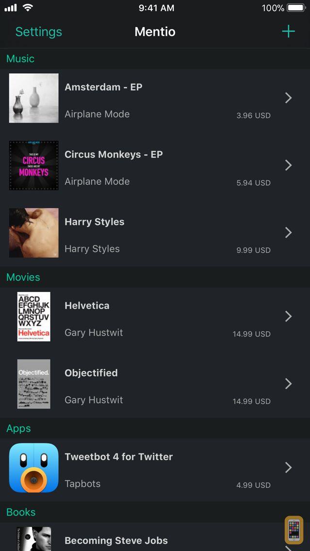 Screenshot - Mentio - Personal Media Wish List