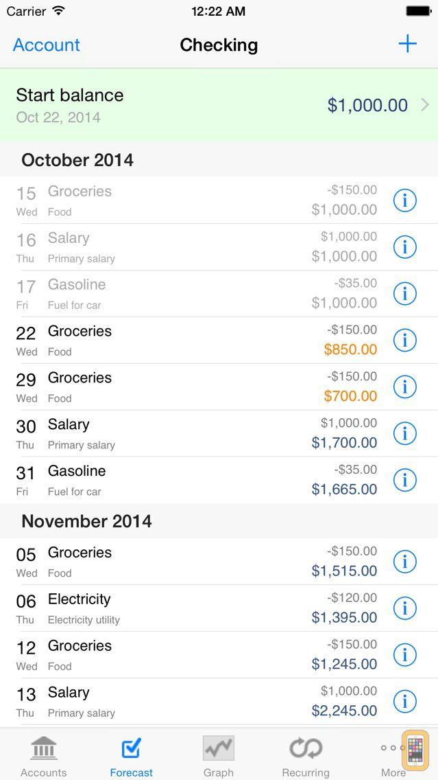 Screenshot - Cashflows