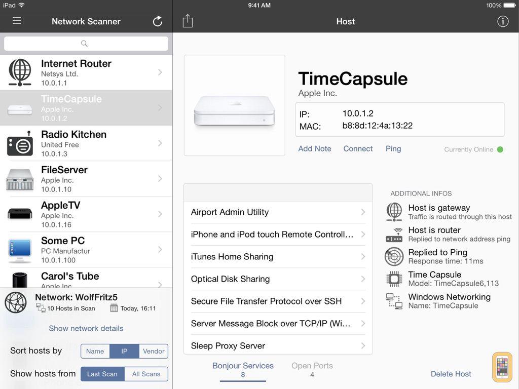 Screenshot - iNet for iPad Network Scanner