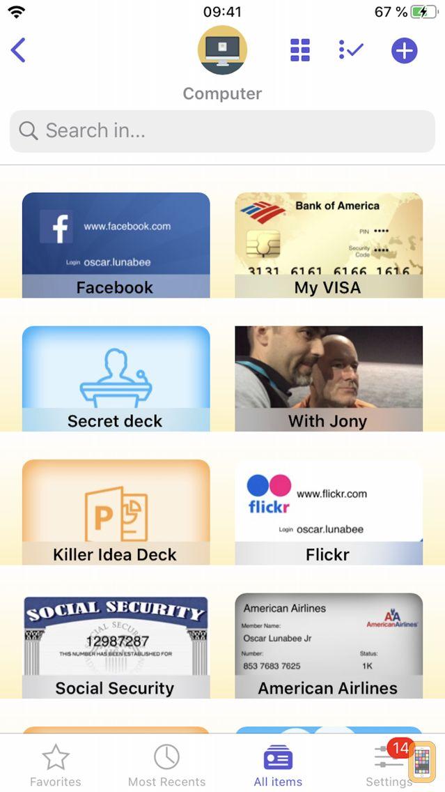 Screenshot - oneSafe+ password manager