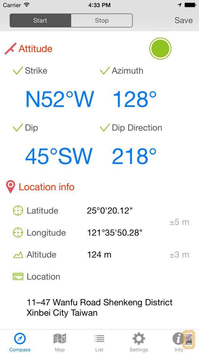 Screenshot - GeoCompass 2 - Geologist's Compass